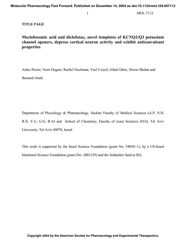 meclofenamic acid and diclofenac novel templates of kcnq2 q3